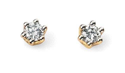 Jewellery World Bague en or jaune 9carats Solitaire 0,10ct Diamant Boucles d'oreilles