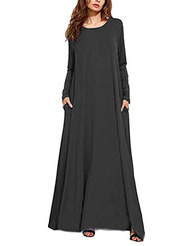 (Kidsform Women Maxi Dress Long Sleeve Casual Loose Kaftan Party Long Dresses with Pockets Dark Grey 3XL)