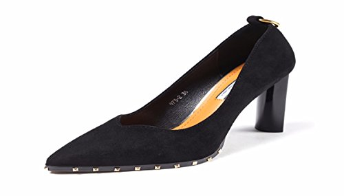 Suede Black Metal Seven Sexy Rivets Trim Shoes Fashionable KPHY Pointed Women'S Thirty Shoes Women'S Spring pwx81I6U