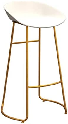 YAOLANQ Bar stools Chair footrest Stool high Chairs as Kitchen Stool Pub Breakfast Stool White PP seat Legs in Gold Metal Maximum Load 150 kg Size 75cm