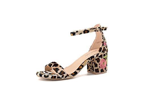 Mila Lady Penny Ankle Strap Floral Embroidered Chunky Elegance Platform Lady Heels Sandals, Leopard /FL8.5
