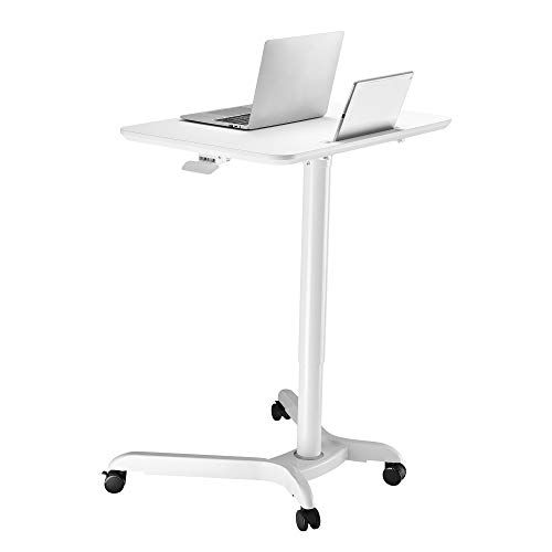 (AVLT-Power Pneumatic Adjustable Height Sit Stand Laptop Desk Computer Cart - Rolling Height Adjustable Folding Desk - Mobile White Cart with Brake Casters )