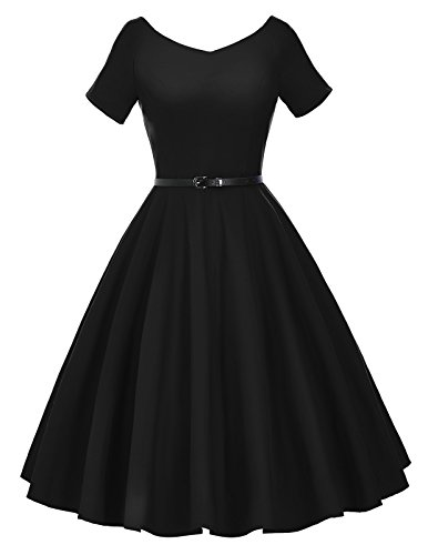 Wholesale Belle Poque Womens 1950s V-Neck Vintage Swing Evening Party Dress with Belt free shipping