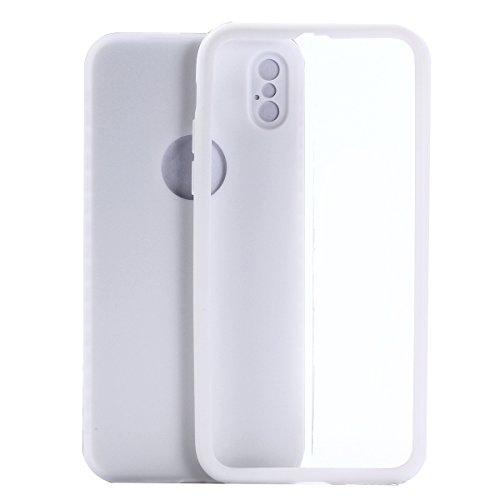 UKCOCO Funda para teléfono Ultra Slim Fit 360 grados Protección completa para el cuerpo Funda resistente a huellas dactilares Suave TPU mate para iPhone X (Blanco) Blanco