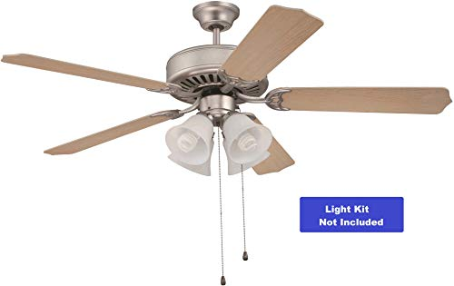 Craftmade K10262 Downrod Mount, 5 Maple Blades Ceiling fan, Brushed Satin Nickel (Exteriors By Craftmade)
