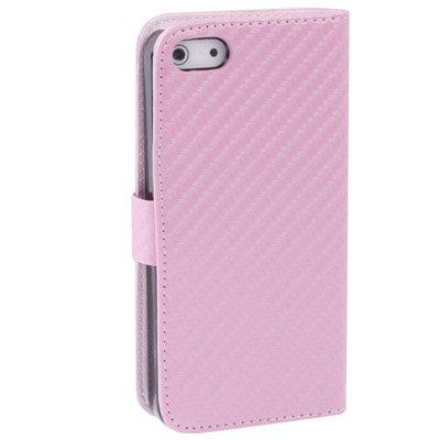 """iPhone SE, 5, 5S Ledertasche / Hülle / Case / Cover in pink aus hochwertigem Leder im """"Carbon-Style"""" -ORIGINAL nur von THESMARTGUARD-"""