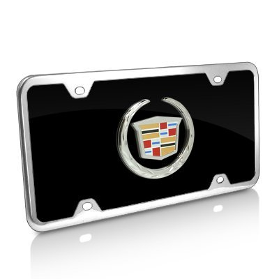 (Au-Tomotive Gold, INC. Cadillac Black Acrylic Auto License Plate with Chrome Frame Kit)