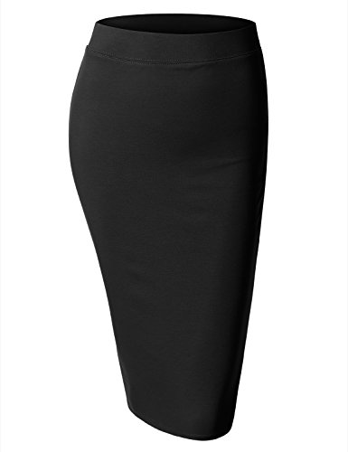 BIADANI Women Slim Fit Elastic Waist Bodycon Stretch Pencil Skirt