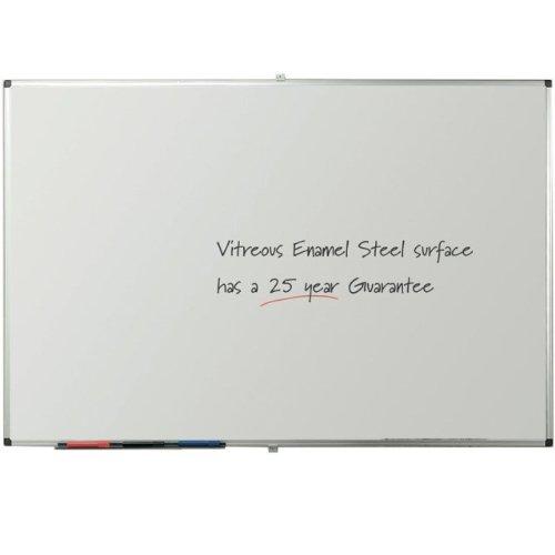 VIZ-PRO Porcelain Magnetic Dry-erase Whiteboard, 48 X 36 Inches, Silver Aluminiuim Frame by VIZ-PRO