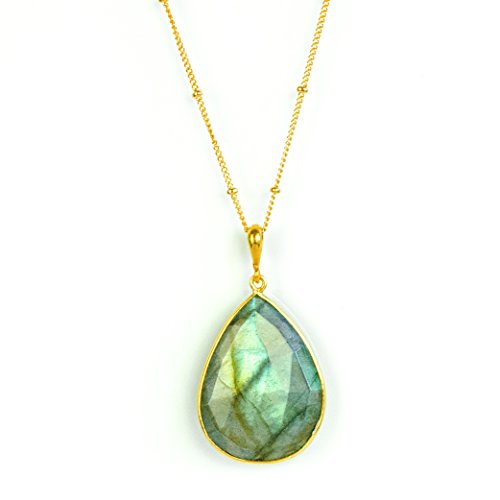 Large Teardrop Natural Labradorite Pendant Necklace, Custom Length and Metal and Chain Style