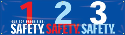 """Accuform Signs MBR951 Motivational Safety Banner, Legend """"OUR TOP PRIORITIES:  1-SAFETY.  2-SAFETY.  3-SAFETY."""", 28"""" Length x 8-ft Width, Reinforced Vinyl with Metal Grommets"""