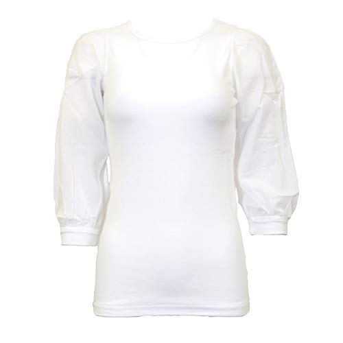 Hardtail Crew Neck Bubble Sleeve Top T-158 XS White