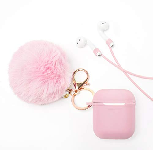 Airpods Case Cover - LEWOTE Airpods Silicone Cute Accessories [Protective Case, Anti-Lost Strap, Fur Ball Keychain] for Apple Airpod 1&2 (Pink)