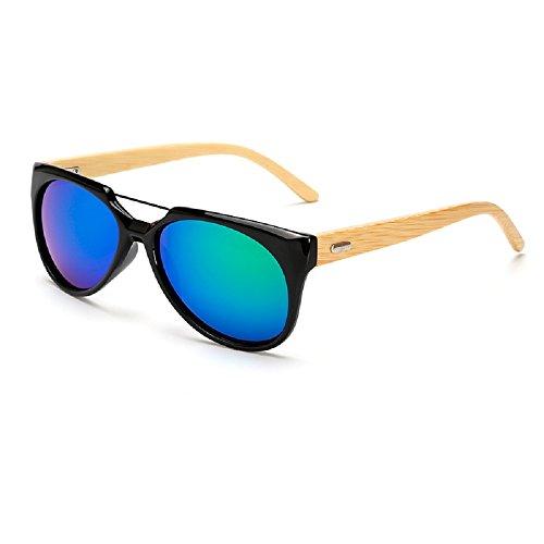 Wei dan bamboo arm sunglasses men and women aviator sunglasses sports driving mirror 526 (Black frame / blue green mirror, - To Sunglasses Where Cheap Prescription Get