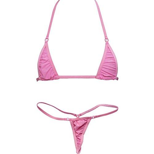 TiaoBug US Women Sliding Top & Thong G-String Bikini Swimsuit (Pretty String Thong)
