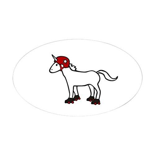(CafePress Roller Derby Unicorn Sticker Oval Bumper Sticker, Euro Oval Car Decal)