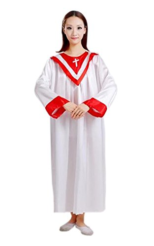 Unisex Priest Pastor Christian Church Robes White Cross 170 (Judge Robes Costume)