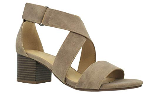 (MVE Shoes Women's Open Toe Strappy Low Heeled-Sandals, Taupe dispu Size 10)