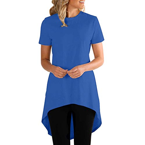 YEZIJIN Women Fashion O Neck Short Sleeve Irregular Hem Loose Casual T-Shirt Blouse 2019 Under 10 Dollars Blue