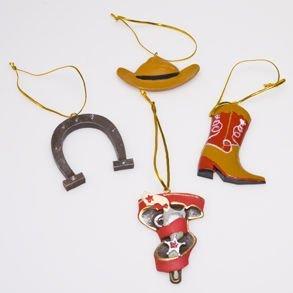 4 Cowboy Western Themed Christmas Ornaments