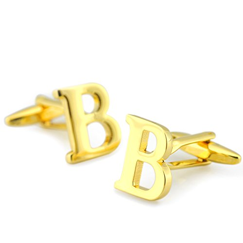 Sirius Jewelry Gold Tone Initial Personalised Capital Alphabet Letter Cufflinks for Mens with Nice Case