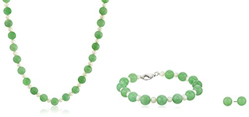 Rhodium-Plated Sterling Silver Jade and Freshwater Cultured Pearl Necklace, Bracelet, and Stud Earrings Jewelry Set
