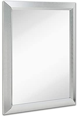 """Premium Rectangular Brushed Nickel Wall Mirror 
