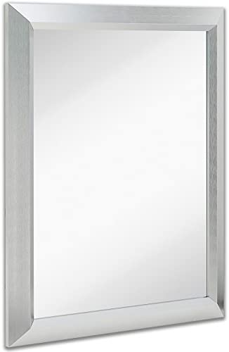 Hamilton Hills Premium Rectangular Brushed Aluminum Wall Mirror