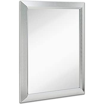 Amazon.com: Premium Rectangular Brushed Aluminum Wall Mirror ...