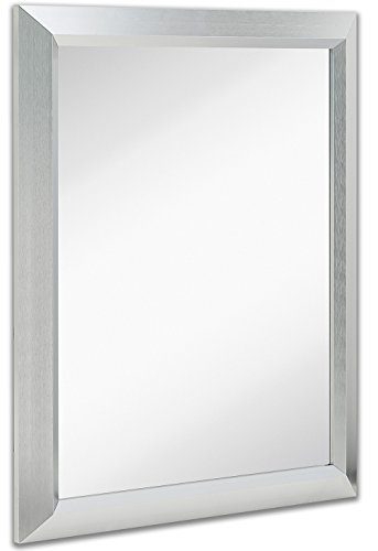 Premium Rectangular Brushed Nickel Wall Mirror | Contemporary Metal Frame Silver Backed Mirrored Glass | Vanity, Bedroom or Bathroom | Rectangle Hangs Horizontal or Vertical (24