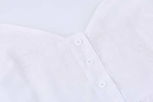 Angashion Women's Spaghetti Down Button 1 Dress Summer Floral Midi Dresses Pockets Strap White Swing Bohemian ASwqA