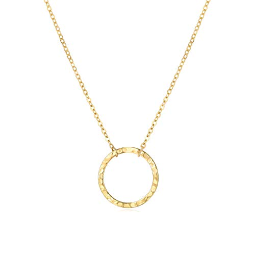 - SEAYII Women Moon Necklace Gold New Moon 14K Gold Fill Crescent Moon Phase Karma Open Circle Double Side Hammered Pendant Best Friend Dainty Chain Layer Boho Simple Delicate Handmade Gold Jewelry Gift