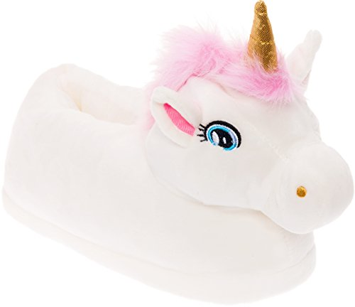 Silver Lilly Unicorn Plush Slippers - Novelty Animal Slippers w/Foam Support (White, Large)]()