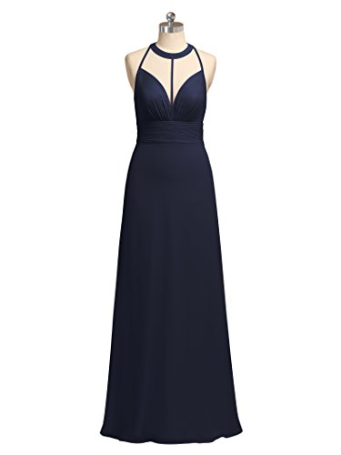 Event Dress Evening Bridal Party Maxi Navy 2017 Alicepub Chiffon Dresses Gown Formal Dark STEEnW