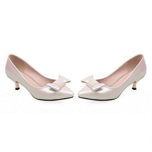 AllhqFashion Damen PU Mittler Absatz Spitz Zehe Rein Ziehen auf Pumps Schuhe Cremefarben