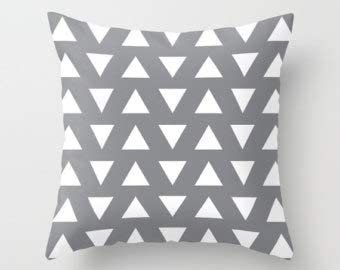 not branded Triangles Pillow - Geometric Pillow - Gray and White Triangles Pillow - Decorative Pillow