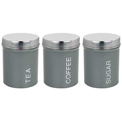 Harbour Housewares Metal Tea Coffee Sugar Canisters Set of 3 - Grey - 95mm x 130mm ()