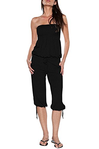 Selowin Women Strapless Tube Top Drawstring Ruched Loose Capri Jumpsuit Beachwear Black XL