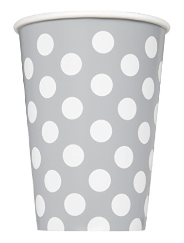 12oz Silver Polka Paper Cups
