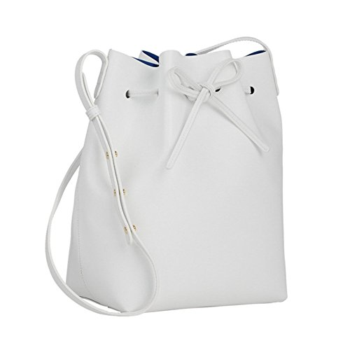 Cross Bucket Gift Leather Large Cluthes body for White Bag Purse Girl Free Lady Tote S Shoulder Women Satchel Soft 5xq14RIwR