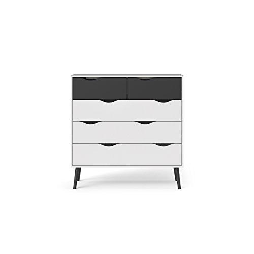 Tvilum 7545649gm Diana 5 Drawer Chest, White/Black Matte Black Finish Bedroom Chest