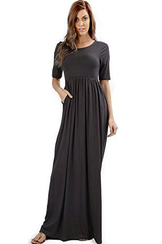 Zenana Premium 7011 Casual Women's Long Maxi T-Shirt Dress with Half Sleeves and Pockets (Ash Grey, Small) -
