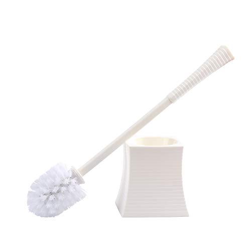 Kinsky Toilet Brush Holder, Good Grips Strong Bristles Bathroom Cleaner with Base Bowl Scrubber (White) Ceramic Toilet Brush Holder