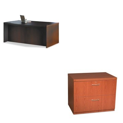KITMLNABD7242LDCMLNAFLF36LCR - Value Kit - Mayline Aberdeen Series Laminate Bow Front Desk Shell (MLNABD7242LDC) and Mayline Aberdeen Series Freestanding Lateral File (Aberdeen Series Bow)