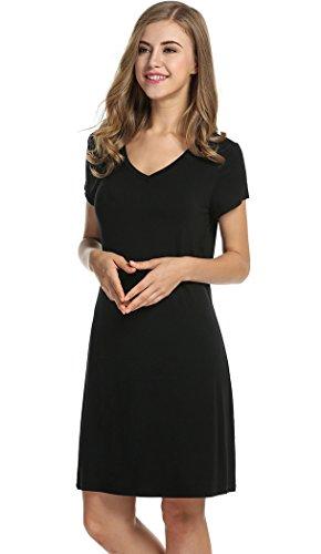 Halife Women's Short Sleeve Nightgown Solid V-neck Shift Nightdress Sleepwear (XL, Black)