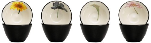 - Noritake Colorwave Floral Bowl, 4-Inch, Graphite, Set of 4