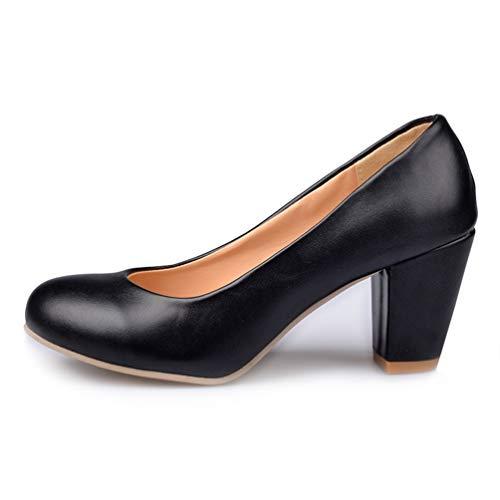 Femmes de de Hauts Pompes Chaussures Escarpins Noir Ronde Printemps l'automne Simples des Talons Profondes Peu Taille Orteils Talons Grande 5Wt5qwxY