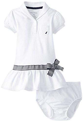 Nautica Baby Girls' Shawl Collar Pique Polo Dress, ETO Sail White, 18 Months