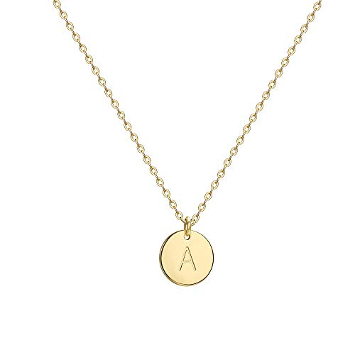 Befettly Initial Necklace Pendant 14K Gold-Plated Round Disc Double Side Engraved Hammered Choker Necklace 16.5'' Adjustable Personalized Alphabet Letter Pendant A