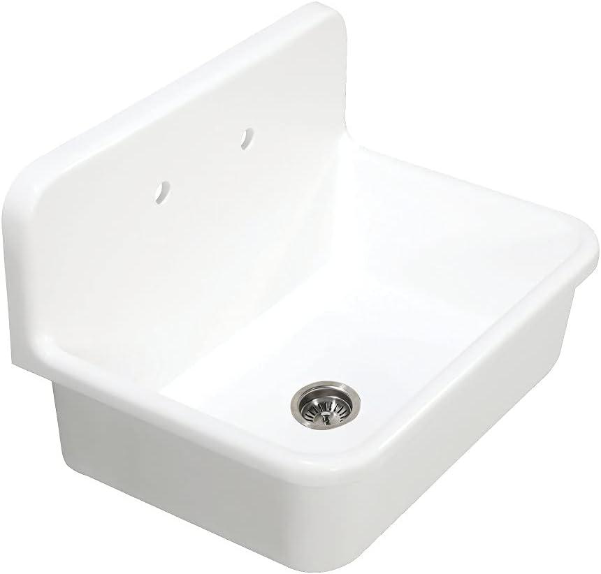 Kingston Brass GKTA3020198 Arcticstone 30-Inch Solid Surface Top-Mount Kitchen Sink with Backsplash, Matte White
